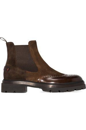 santoni Men Chelsea Boots - Punch-hole suede Chelsea boots