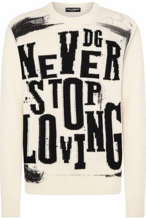 Dolce & Gabbana Men Sweatshirts - Ribbed slogan-knit wool jumper - Neutrals