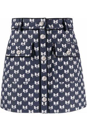 Maje Bow print mini skirt