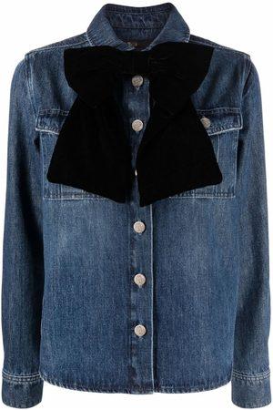 Maje Bow-detail denim shirt