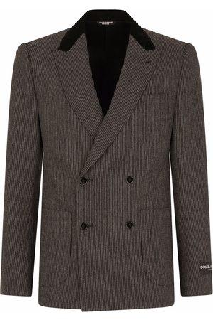 Dolce & Gabbana Men Blazers - Double-breasted striped blazer - Grey