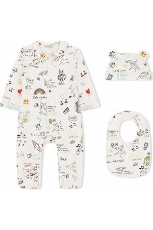 Dolce & Gabbana Kids Bodysuits & All-In-Ones - Sketch-print cotton babygrow set