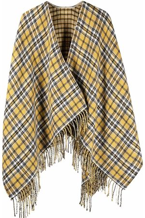Maje Check-pattern fringed scarf