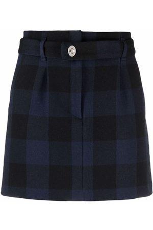 Maje Check print straight skirt