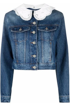 Maje Brenda embroidered collar denim jacket