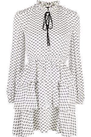 Maje Bow print tiered dress - Neutrals