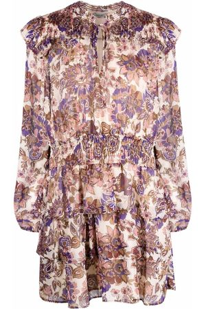 Liu Jo Winter flower-print mini dress - Neutrals