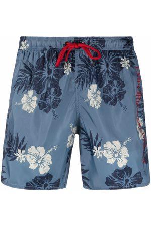 Emporio Armani Men Swim Shorts - Hawaiian-print swim shorts