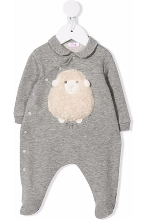 Il Gufo Sheep-appliqué detail pyjamas - Grey