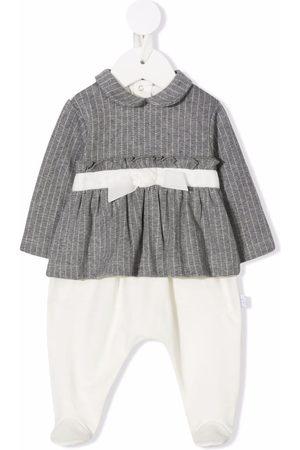 Il gufo Pinstripe ruffled-blouse babygrow - Neutrals
