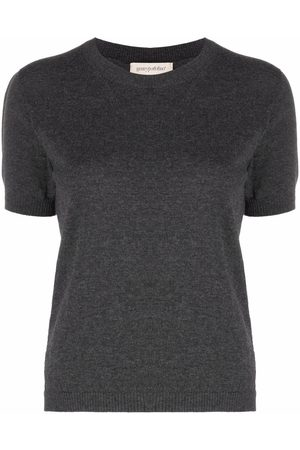 Gentry Portofino Women Tops - Ribbed-trim short-sleeved knitted top - Grey