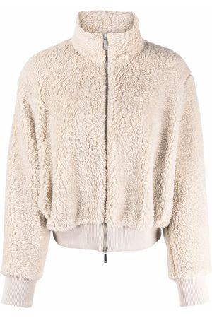 Emporio Armani Faux-shearling bomber jacket - Neutrals