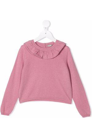 Il gufo Tops - Ruffle-collar longsleeved wool top