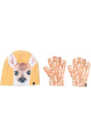 Molo Fawn-print hat and glove set