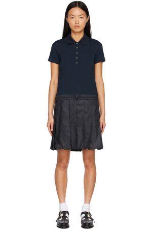 Thom Browne Women Casual Dresses - Navy Piqué & Ripstop Short Sleeve Polo Dress