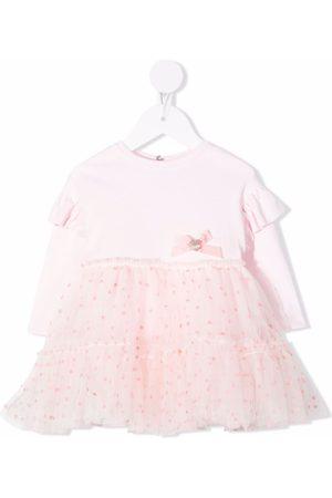 Monnalisa Baby Dresses - Polka-dot tiered tulle dress