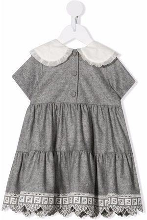 Fendi Kids Tiered silk dress - Grey