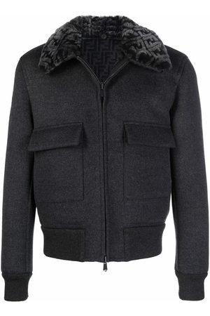 Fendi FF-collar reversible faux-shearling jacket - Grey