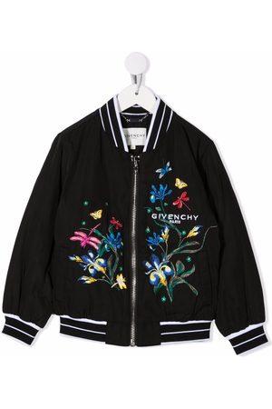 Givenchy Kids Floral-embroidered bomber jacket