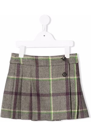 Bonpoint Checked pleated wool skirt - Neutrals