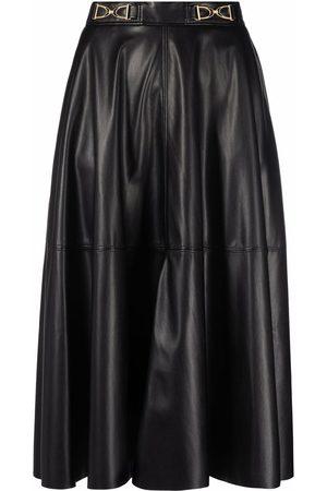 Elisabetta Franchi Horsebit-detail faux-leather skirt