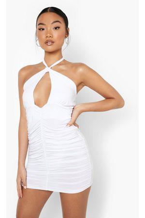 Boohoo Women Halterneck Dresses - Womens Petite Halterneck Ruched Slinky Midi Dress - - 2