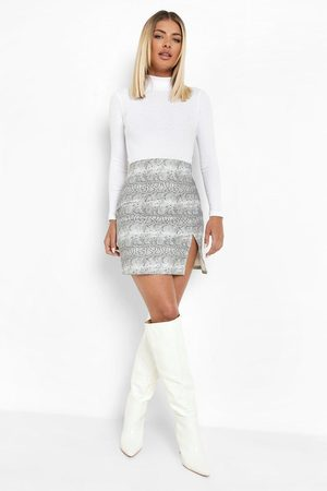 Boohoo Womens Snake Print Split Hem Denim Mini Skirt - - 2