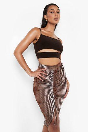 Boohoo Women Printed Skirts - Womens Illusion Print Ruched Front Midi Slinky Skirt - - 2