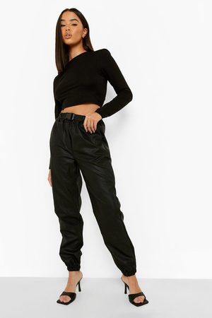 Boohoo Womens Basic Cargo Jogger Pu Trouser - - 2