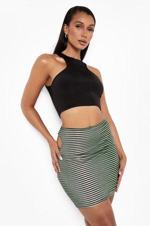Boohoo Womens Illusion Print Cut Out Mini Skirt - - 2
