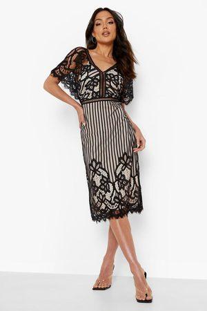 Boohoo Womens Boutique All Over Lace Bodycon Midi Dress - - 4