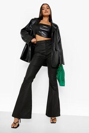 Boohoo Womens Coated Denim High Waist Flared Jeans - - 2