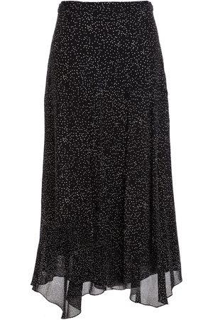 THEORY Women Maxi Skirts - Woman Asymmetric Polka-dot Silk Crepe De Chine Maxi Skirt Size 0