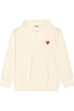 Comme des Garçons Men Hoodies - Pullover Hoodie with Red Emblem in Ivory