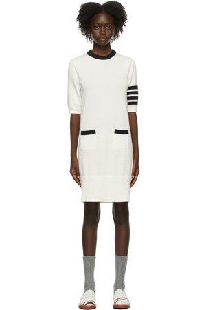 Thom Browne Women Dresses - White Intarsia Hector Icon 4-Bar Dress