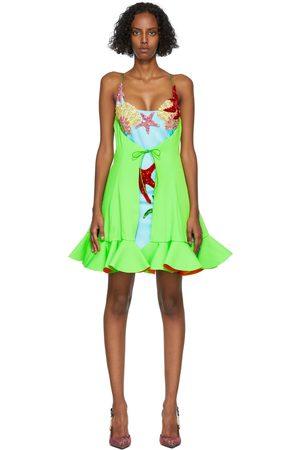 VERSACE Green & Blue Embellished Babydoll Dress