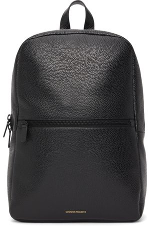 Common Projects Black Grained Leather Simple Backpack