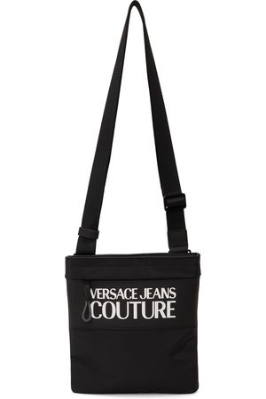 VERSACE Black & White Logo Messenger Bag