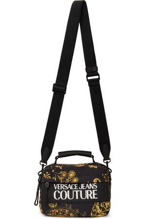 VERSACE Black & Gold Logo Messenger Bag