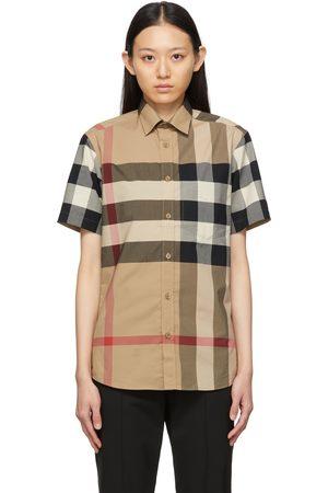 Burberry Beige Poplin Check Short Sleeve Shirt