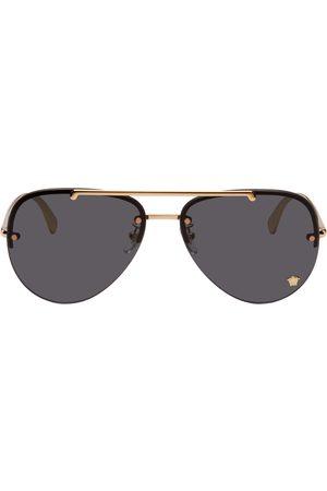 VERSACE Gold & Black Medusa Glam Aviator Sunglasses
