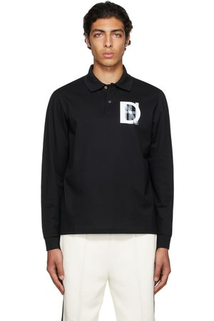 Dunhill Black Overprint Long Sleeve Polo