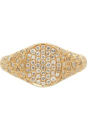 YVONNE LÉON Gold Diamond Mini Oval Signet Ring