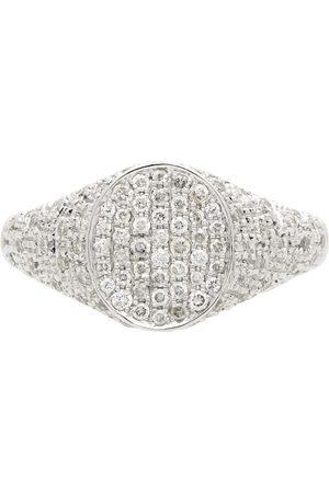 YVONNE LÉON White Diamond Mini Oval Signet Ring