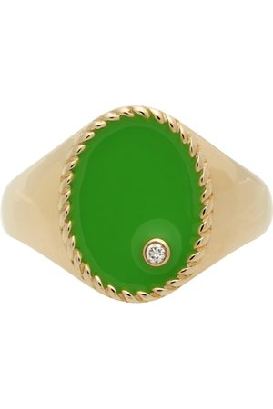 YVONNE LÉON Gold & Green Oval Signet Ring