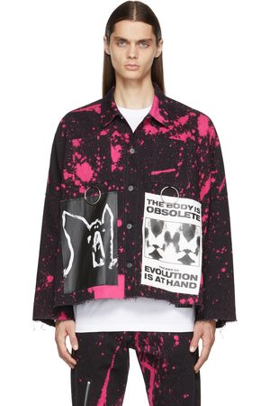 Kidill Men Denim Jackets - Black & Pink Anarchy Denim Jacket