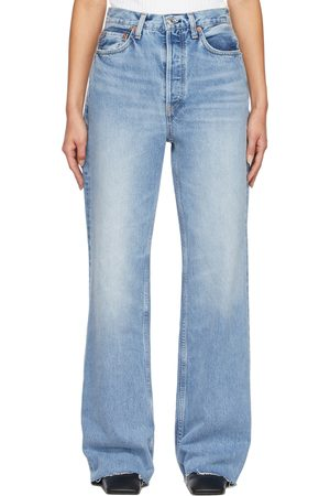 RE/DONE Blue 70s Ultra High Rise Wide Leg Jeans