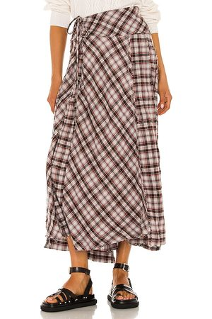 Free People Deep In Thought Maxi Skirt in Red.