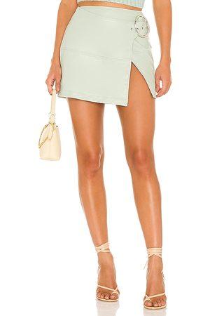 For Love & Lemons Talia Mini Skirt in Mint.