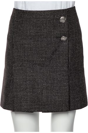 Balenciaga Patterned Wool Button Detail Mini Skirt M